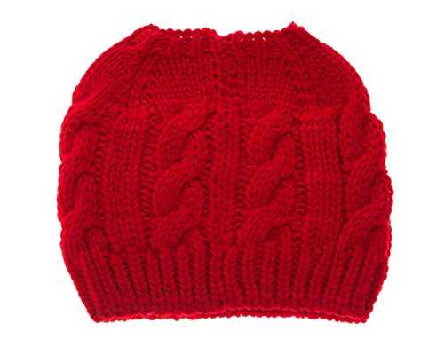 (HatQuarters Women Crochet Ponytail Messy High Bun Beanie Winter Hat Slouchy Cable Knit Twist (Red))