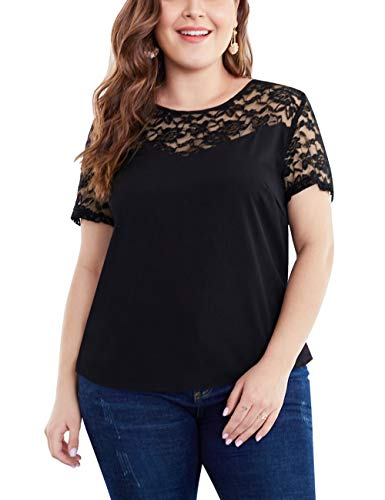 - SELINK Women's Plus Size Blouse Shirts Short Sleeve Casual Lace Spliced Summer Tops Black 2XL