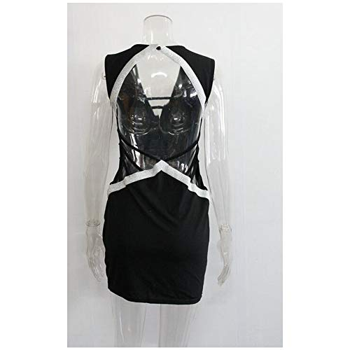 Sexy Da Collo Vestito Sera Summer Backless Hollow Out Mini Donna V Ladies Nero Profondo qjpSUzLMVG