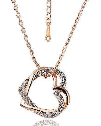 love heart pendant necklace_charm chain necklace_cubic zirconia pendant necklace_crystal necklace