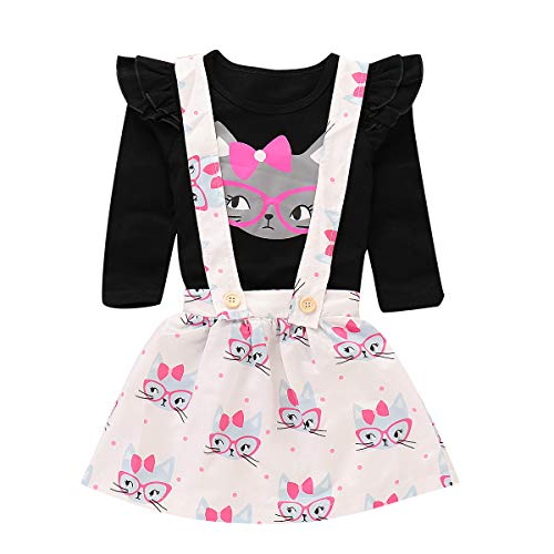 Toddler Baby Girls Cut Cat Ruffle Long Sleeve Shirt Tops Suspender Skirt Overalls Outfits (Black+White, 1T-2T)