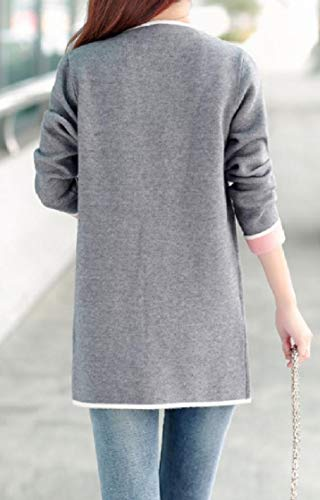 Collar Knit Coat Leisure EnergyWomen Cardigan Turn Down Sleeve Pocket Grey Long YaqqBwp