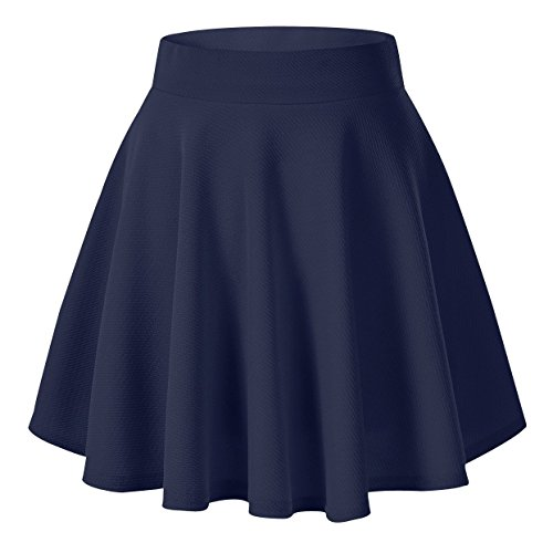 Urban CoCo Women's Basic Versatile Stretchy Flared Casual Mini Skater Skirt (Medium, Navy Blue)