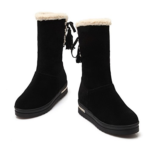 Allhqfashion Women's Lace up Low Heels Frosted Solid Mid Top Boots Black BUrXPNPB44