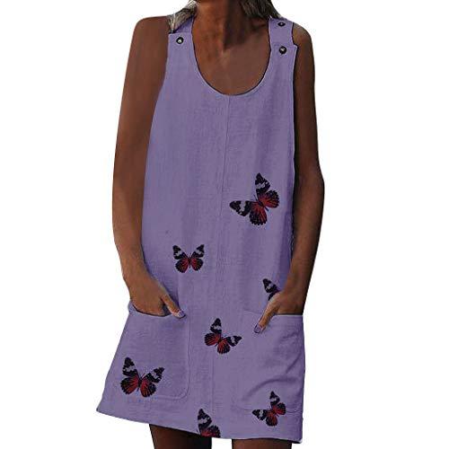 Toponly Women Boho Tank Dresses Butterfly Print Cotton Linen Summer Beach Cover Up Shoulder Clasp Sleeveless Dress Pockets Dress