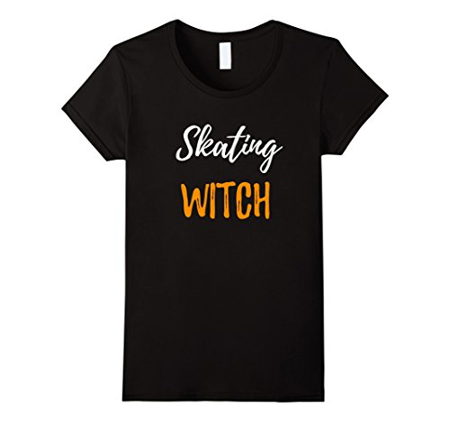 [Womens Skating Witch T-Shirt Funny Ice Skater Halloween Gift Medium Black] (Ice Skating Costume Ideas)