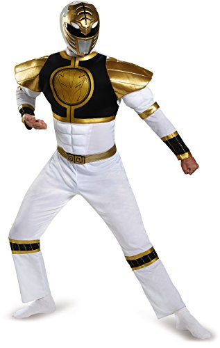 [Disguise Power Ranger Adult White Ranger Classic Muscle Costume 82847 (Adult X-Large (42-46))] (Green Power Ranger Costume)