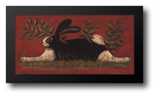 Red Folk Bunny 20x12 Framed Art Print by Hilliker, -