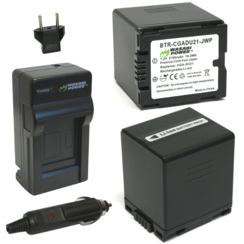 Wasabi Power Battery (2-Pack) and Charger for Panasonic CGA-DU21, VW-VBD210 and Panasonic NV-GS10, GS15, GS17, GS21, GS22, GS26, GS27, GS28, GS29, GS30, GS33, GS35, GS37, GS38, GS40, GS44, GS50, GS55, GS58, GS60, GS65, GS70, GS75, GS78, GS80, GS85, GS98, GS120, GS140, GS150, GS158, GS180, GS188, GS200, GS230, GS250, GS258, GS280, GS300, GS308, GS320, GS330, GS400, GS408, GS500, GS508, MX500, PV-GS19, GS29, GS31, GS33, GS34, GS35, GS36, GS39, GS50, GS55, GS59, GS65, GS70, GS80, GS83, GS85, GS90, GS120, GS150, GS180, GS200, GS250, GS300, GS320, GS400, GS500, SDR-H18, H20, H28, H48, H68, H200, H250, H280, VDR-D100, D105, D150, D158, D160, D200, D210, D220, D230, D250, D258, D300, D308, D310, D400, M30, M50, M53, M54, M55, M70, M74, M75, M95, M250