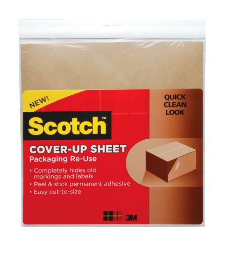 Scotch , Packaging Re-Use Cover-Up Sheets, 12 x 12-Inches, (RU-CUS6BR)