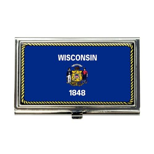 Wisconsin State Flag Business Credit Card Holder Case