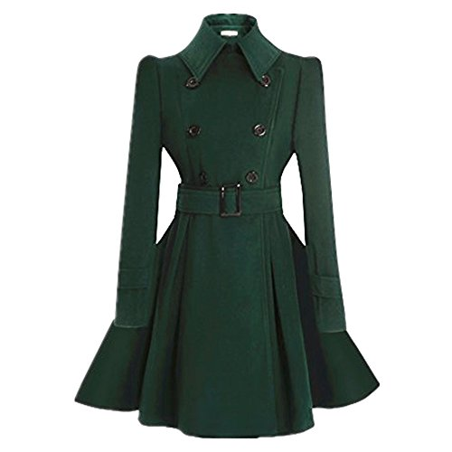 ForeMode Women Double Breasted Trench Coat with Belt Buckle Spring Mid-Long Long Sleeve Casual Dresses Style Outwear£¨Green M)