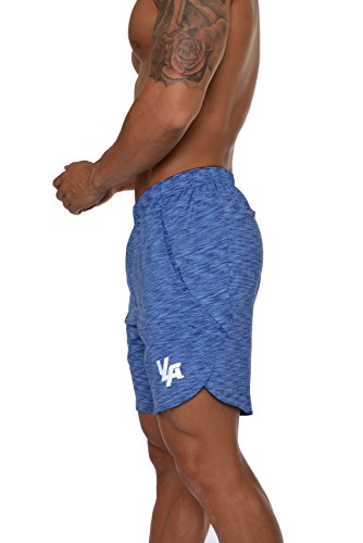 - YoungLA Men's Running Shorts Athletic Gym Jogging Workout Powerlifting with Front Pockets 104 Heather Blue Medium