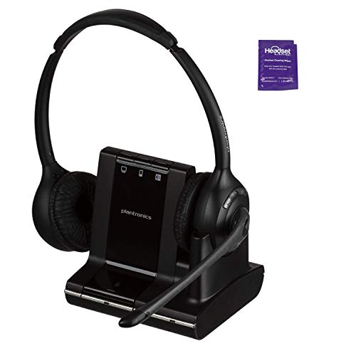 Plantronics Savi W720 Wireless Headset Bundled with Headset Advisor Wipe (Renewed)