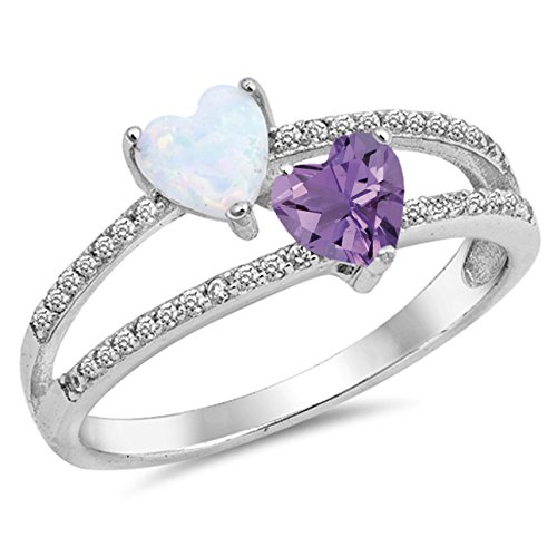 925 Sterling Silver Faceted Natural Genuine Purple Amethyst Heart Ring Size 10