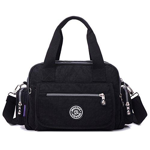 Girls Purse Resistant Nylon Black Satchel Water Zip with Handle TianHengYi Light Shoulder Pockets Handbag Top dgqAdv