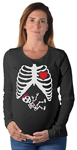 Tstars Halloween Pregnant Skeleton Baby Girl Pregnancy Maternity Long Sleeve Shirt Large Black