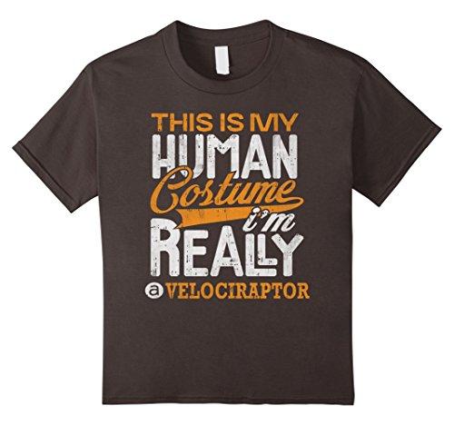 Kids Velociraptor Halloween Costume Shirt Funny Party Gifts Tee 4 Asphalt