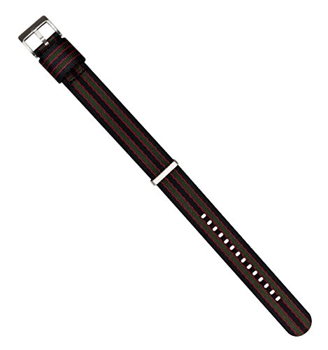 BARTON Jetson NATO Style Watch Strap - 18mm 20mm 22mm or 24mm - Black/Green/Red Classic Bond 20mm Nylon Watch Band by Barton Watch Bands (Image #5)