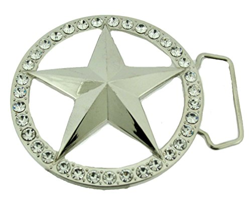 Star Belt Buckle Cowboy Texas US Rodeo Metal Costume Halloween New Sheriff Badge (Silver Star in Rhinestones Borders)]()