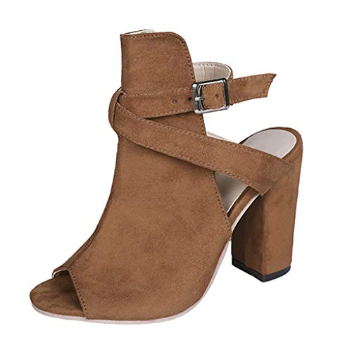 Aunimeifly Women Plain Ankle Buckle Fish Mouth High Heeled Shoes Ladies Square Heel Hasp Sandals Brown