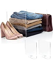 Home For Each HomeForEach, Shelf dividers for Closets, Cabinet, Storage Organization, Anti Slip, Fit for Any Thickness of Shelves, 2pcs, 10 x 12 inch, Clear Transparent