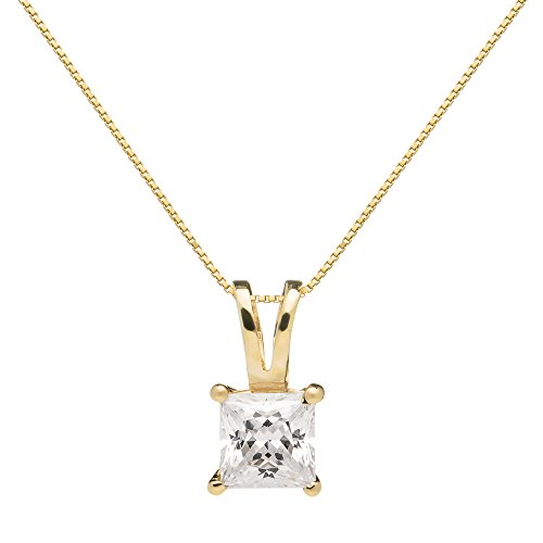 Everyday Elegance | 14K Solid Yellow Gold Pendant Necklace | Princess Cut Cubic Zirconia Solitaire | 1 Carat | 16 inch .50mm Box Link Chain | With Gift Box