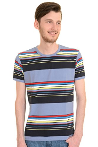 60s Shirt (Mens Run & Fly 60s 70s Retro Repeat Striped T Shirt Large)