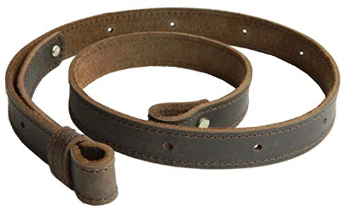 Rifle Leather Sling 1 inch Brown wide vintage crazy horse stitched adjustable strap
