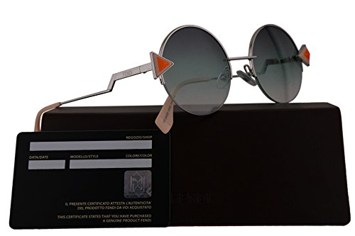 Fendi FF0243/S Sunglasses Silver w/Green Gradient Lens 51mm VGVQC FF0243S FF 0243S FF - Fendi Prescription Sunglasses