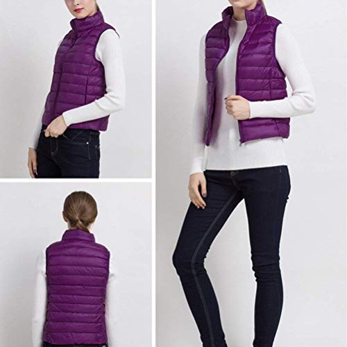 Elégante Courte Style En Manches Col Fashion Doudoune Hiver Packable De Debout Fête Duvet Manteau Gilet Purple Taille Décontracté Fille Femme Ultraléger Sans Automne Grande ROnqwzC