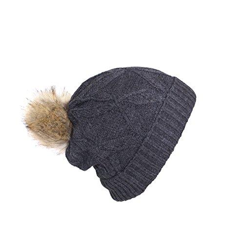 Charcoal Double Layer Knit Beanie w/ Pom, Soft Chenille Fur Infinity Scar