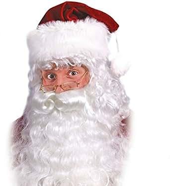 Fun World Costumes Men's Quality Santa Beard and Wig Set, White, One Size