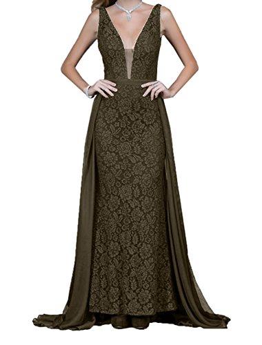 Ausschnitt Braun Promkleider Rock Spitze Braut A Abendkleider La Langes Schleppe Linie mia Abiballkleider mit V FXR6w