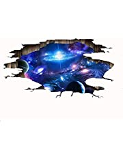 Vichens Creative 3D Blue Cosmic Galaxy Wall Decals Removable PVC Magic 3D Milky Way Outer Space Planet Window Wall Stickers Murals Wallpaper Decor for Home Walls Floor Ceiling Boys Room Kids Bedroom