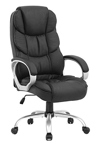 BestOffice Office Chair Cheap Desk Chair Ergonomic Computer Chair with Lumbar Support Arms Headrest PU Leather Modern Rolling Swivel Executive Chair for Back Pain Women Men Adults,Black (Office Desk Chair Ergonomic)
