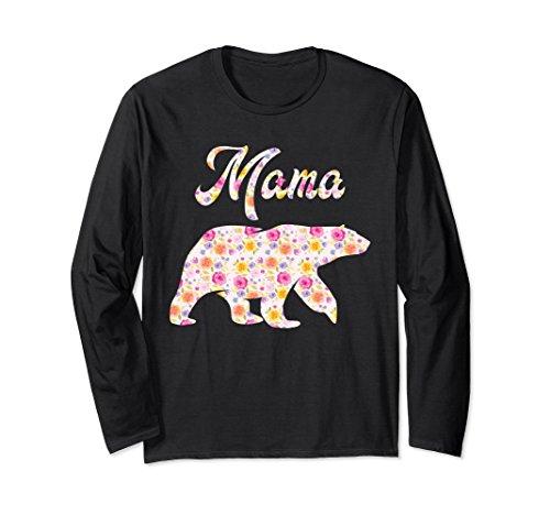 Unisex 'Mama Bear Floral' Mama Bear Shirt XL: Black (Bear Yogi Black)