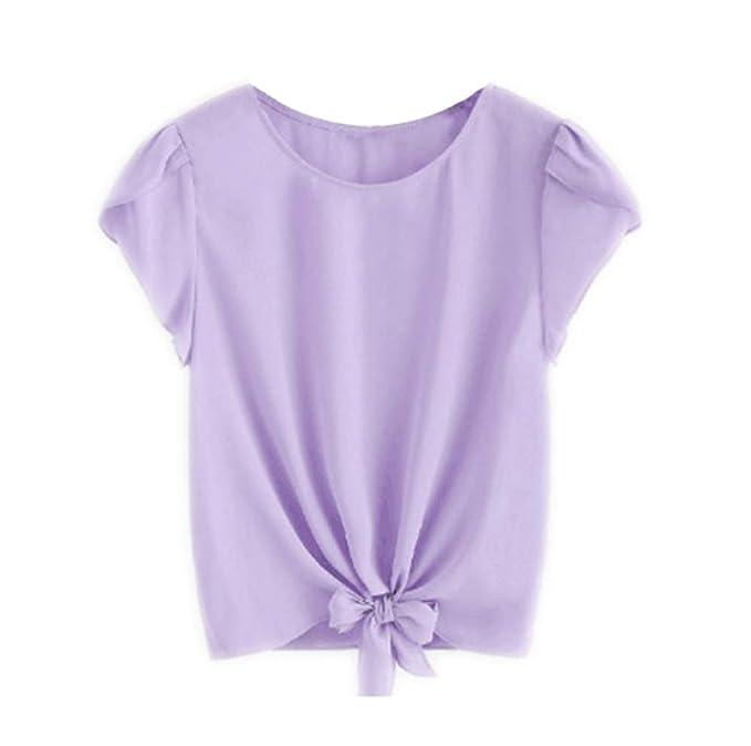 Camisa de Manga Corta sólida de Moda Irregular para Mujer Blusa de Color Azul Camisetas Azules Gimnasio Suelto de Cuello Redondo O Top de Gasa de chifón ...