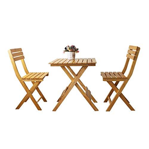 XLOO Outdoor Holz Klapp Bistro Set, mit quadratischem Tisch und Zwei Stühlen, Dicke Kiefer, Glatte Oberfläche, wasserdicht, korrosionsbeständig, für Hinterhof, Balkon, Veranda, Natur
