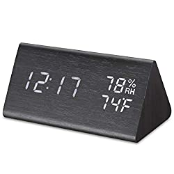 Micarsky Digital Alarm Clock for Bedrooms with 3 Alarms Setting, 3 Levels Brightness, Wooden Electronic LED Display, Temperature and Humidity Detect(Black)