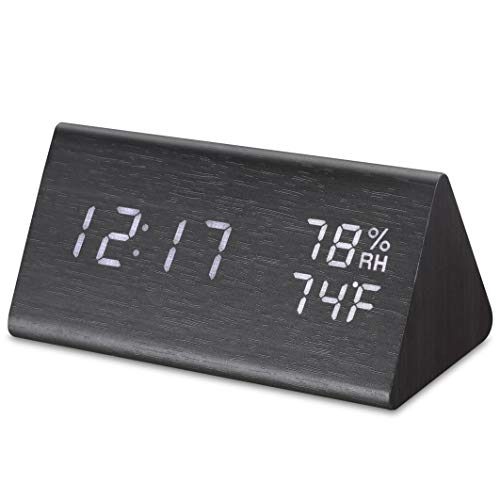 Micarsky Digital Alarm Clock for Bedrooms with 3 Alarms Setting, 3 Levels Brightness, Wooden Electronic LED Display, Temperature and Humidity Detect(Black) (Micro Usb Clock Alarm)