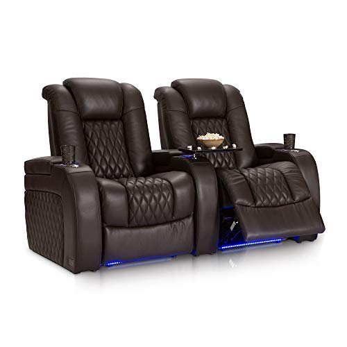 Seating Leather Rated Top - Seatcraft Diamante Home Theater Seating Leather Power Recline with Adjustable Powered Headrest, SoundShaker, USB Charging, Cup Holders, Ambient Lighting (Row of 2, Brown)
