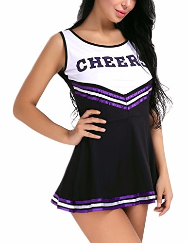iiniim Women's School Girls Musical Party Halloween Cheer Leader Costume Fancy Dress Black (High School Musical Cheerleader Costumes Adults)