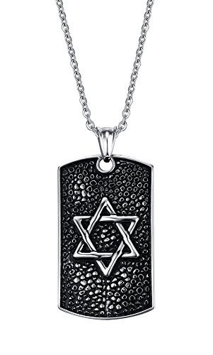 Vintage Stainless Steel Jewish Star of David Tag Pendant Necklace