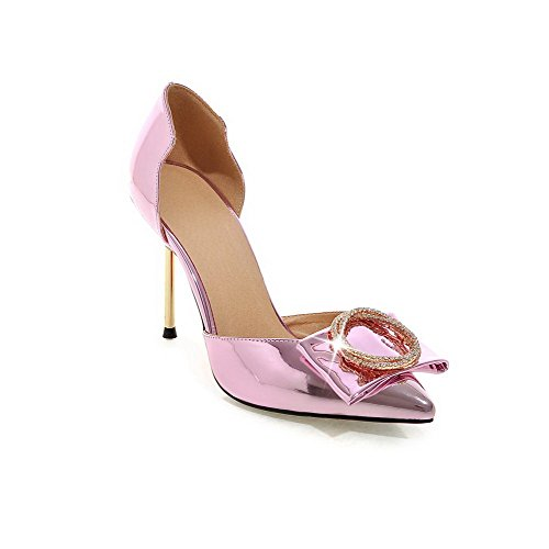 AllhqFashion Women's PU Solid Pull-on Pointed Closed Toe High-Heels Sandals Pink