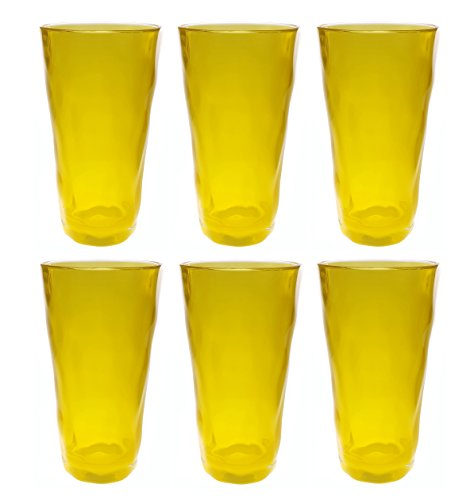 QG 22 oz. Acrylic Plastic Iced Tea Cup Drinking Glass Tumbler Set of 6 Clear Jelly Yellow CG132-YL