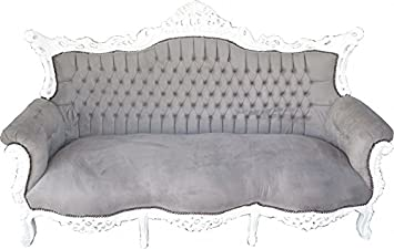 Casa Padrino Barock 3er Sofa Master Grau Weiss Wohnzimmer Mobel