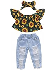 BOEBNOZCV Toddler Baby Girls Ruffle Off Shoulder Sunflower Top + Ripped Hole Denim Leggings Long Jeans Pant Headband Clothes Set - Blue - 12-18 Months