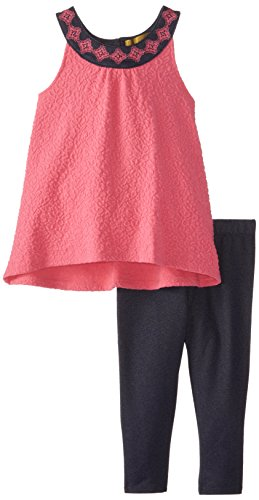 Nicole Miller Little Girls' Textured Knit Tunic with Legging Set, Azalea Pink, 6X