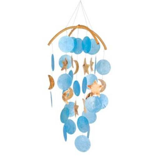 Woodstock Asli Arts Collection, Dark Blue Capiz Chime with Moon & Star - Moon Chime